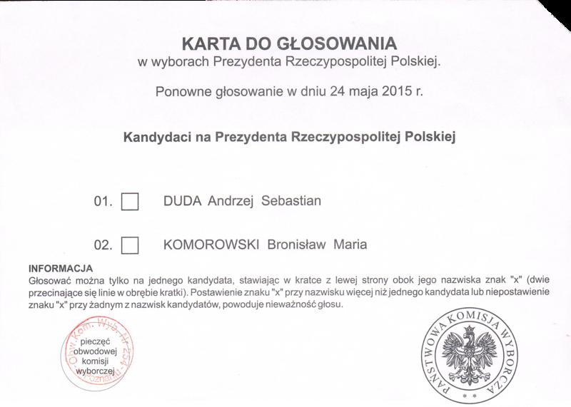 karta wyborcza