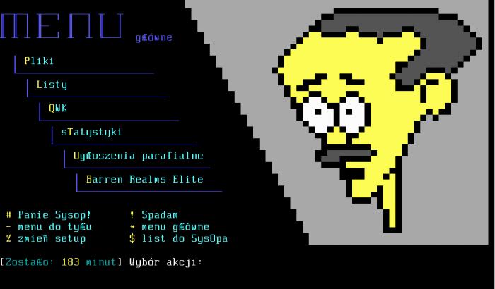 Screenshot głównego menu TS BBS